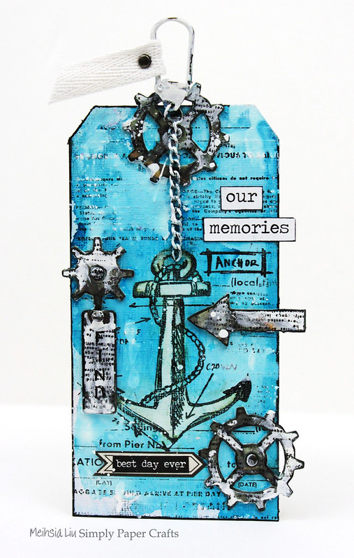 Simply paper craft meihsia Liu mixed media tag nautical tim holtz simon says stamp monday challenge 2