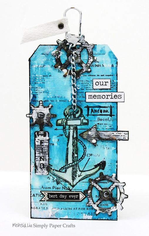 Simply paper craft meihsia Liu mixed media tag nautical tim holtz simon says stamp monday challenge 2