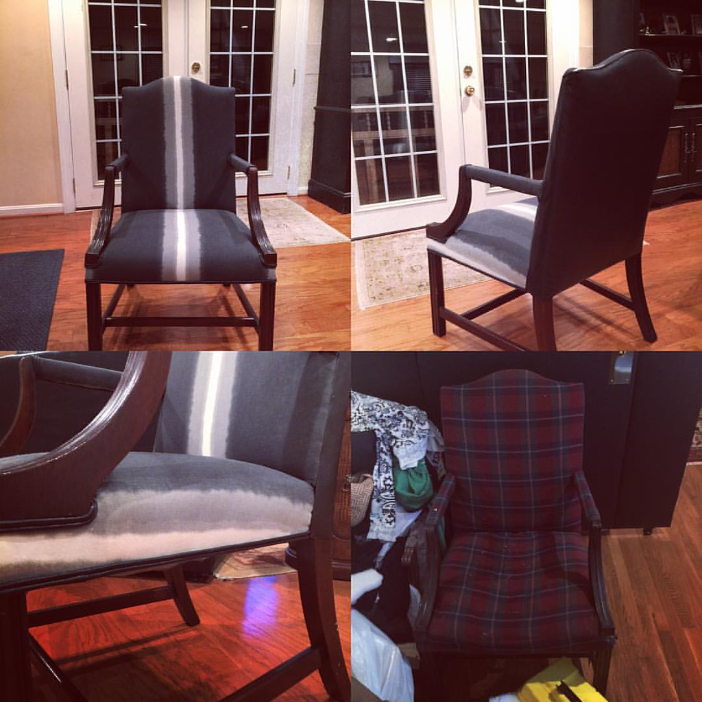 Found this chair before it hit the trash at the Re-Store Silver Spring. I replaced everything except the wood. Look at her now!!!! #reupholstery #acreativedc #reuse #relove #beforeandafter #MadeinDC