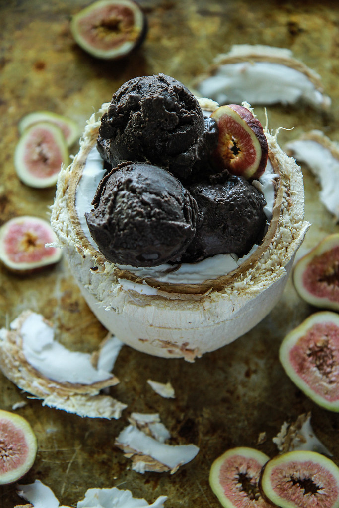 Vegan Dark Chocolate Fig Coconut Ice Cream from HeatherChristo.com