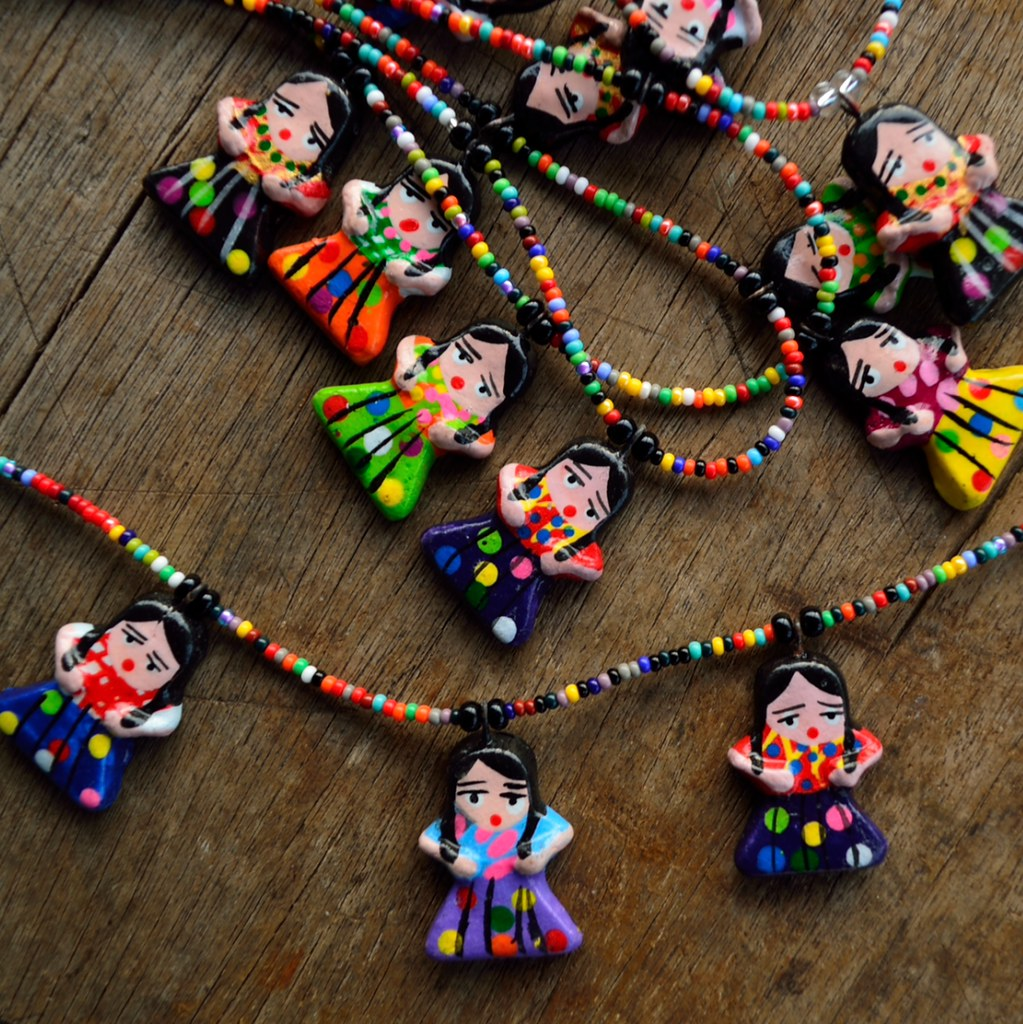 ceramic worry doll pendants