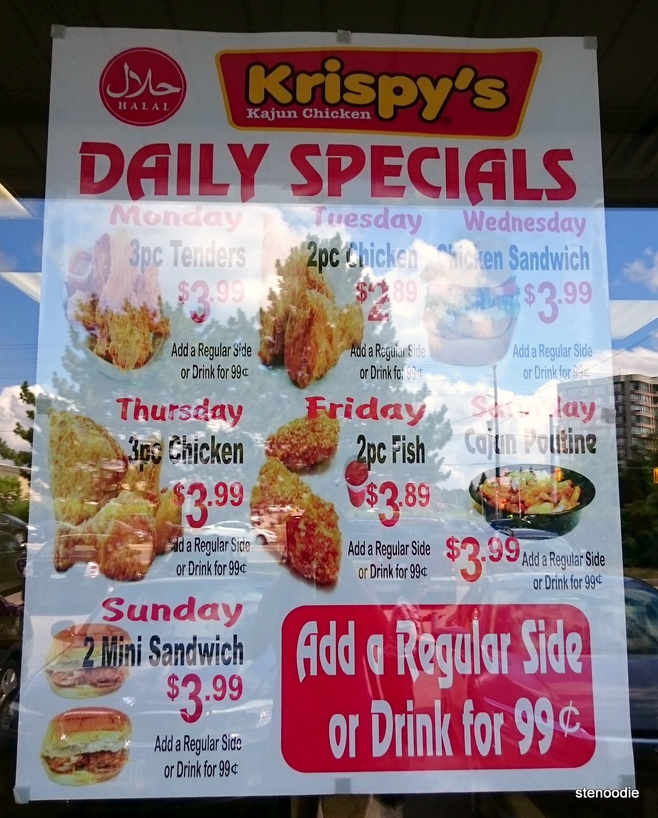 Krispy's Kajun Chicken Daily Specials