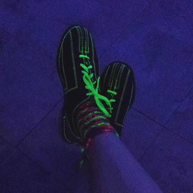 Glowing knit socks! Always fun at glow bowling!! #glowbowling #socktawk #sockknittersofinstagram