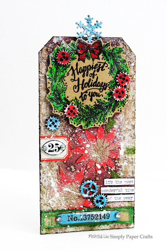 Meihsia Liu Simply paper Crafts Mixed Media Tag Christmas Simon Says Stamp Tim Holtz New Release 1