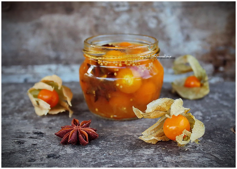 ...physalis marinated in orange juice with star anise