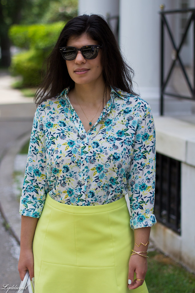 floral blouse, neon skirt, white bag, gorjana vista cuff-7.jpg