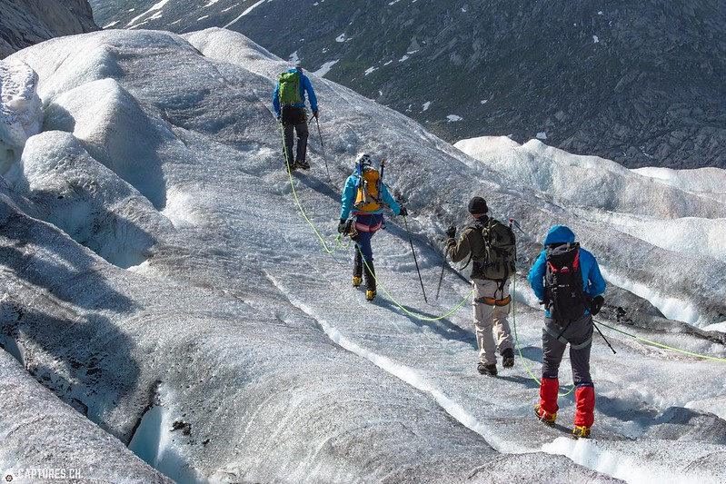 Hikers on the ice - Aletsch