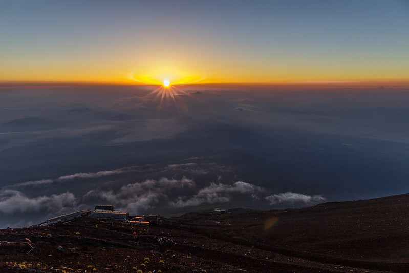 "the ""Goraiko"", the view of the sunrise from 8.5th station."