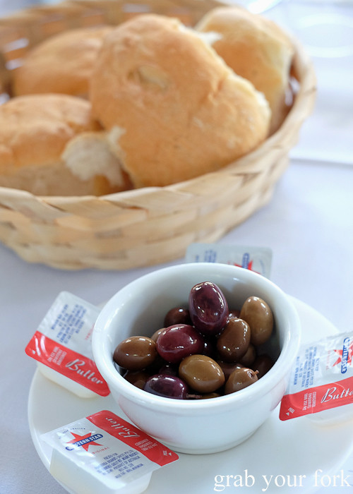 Complimentary bread and olives at Casa do Benfica, Petersham
