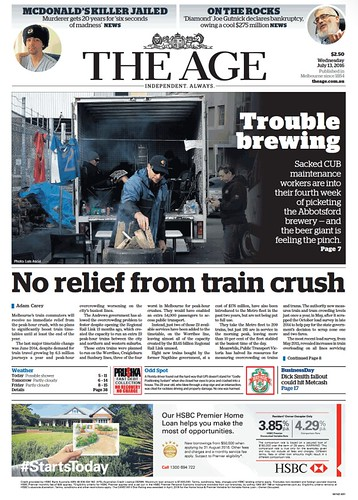 The Age front page 13/7/2016